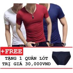 Thông tin Sp Combo 3 áo thun nam body cổ tim tặng kèm quần lót ZAVANS( Trắng , Đỏ Đô , Xanh Đen )  ZAVANS