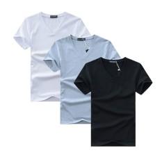 Combo 3 áo thun nam cổ tim mềm mịn, thấm hút tốt (Đen/Trắng/Xám)