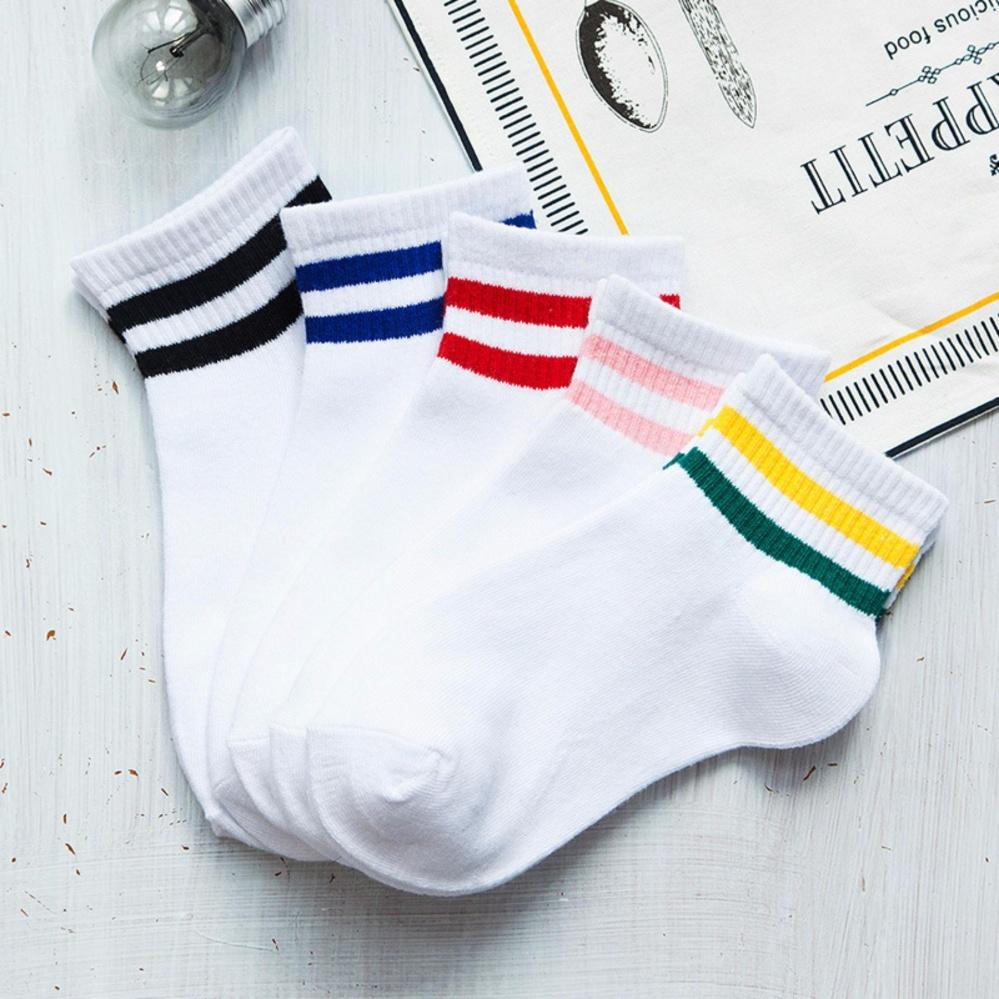 Ở đâu bán Combo 5 đôi tất (vớ) cổ ngắn Hàn Quốc 2 sọc (màu trắng)