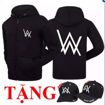 Combo áo hoodie Alan Walker tặng nón AW (�en)