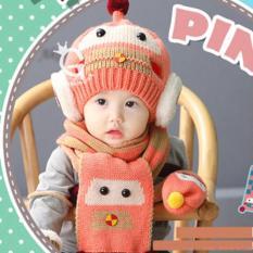 Combo mũ và khăn len bé gái
