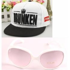 Combo nón Hiphop+ kính mát thời trang + Tặng kèm bao da K3+83 (Trắng)