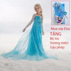Combo Váy đầm công chúa Elsa và bộ tóc + vương miện + gậy phép