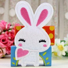 Cute 2pcs Embroidered Cloth Iron On Patch Motif Applique Sew Couple Rabbit Small Small WHite – Intl – intl