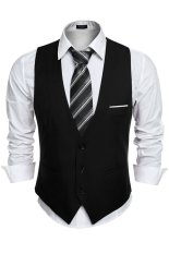Cyber nam Kinh Doanh Slim Fit Skinny Áo Vest Áo (Màu Đen)-Quốc Tế