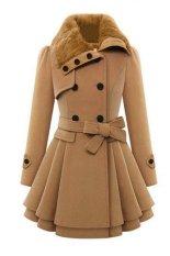 Khuyến Mãi Cyber Women Casual Long Sleeve Faux Fur Lapel Double-Breasted Thick Wool Coat – Intl  Happydeal365