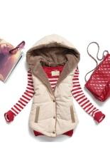 Cyber Women Plus Size Slim Jacket Hoodie Vest Coat Waistcoat (Beige) – intl
