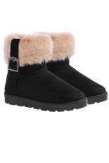 Địa Chỉ Bán Cyber Women'S Fur Pu Leather Snow Boots Ankle Boots Warm Shoesr (Black)  Happydeal365