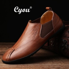 Cyou 2017 New Arrivals Genuine Leather Slip-Ons & Loafers Fashion Casual Shoes for Men Kasut Kulit Asli Lelaki (Brown) – intl