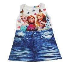 Đầm Frozen & Tangle bé gái 2-9 tuổi Tri Lan DBG053 (Trắng xanh)