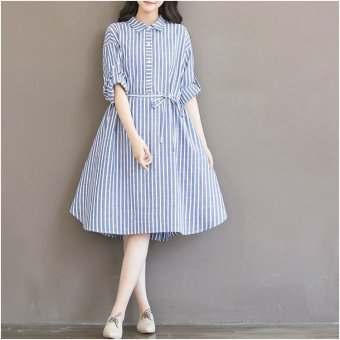 Đầm bầu thời trang công sở kẻ sọc xanh STT5402 (Sọc Xanh, chất thô mềm)