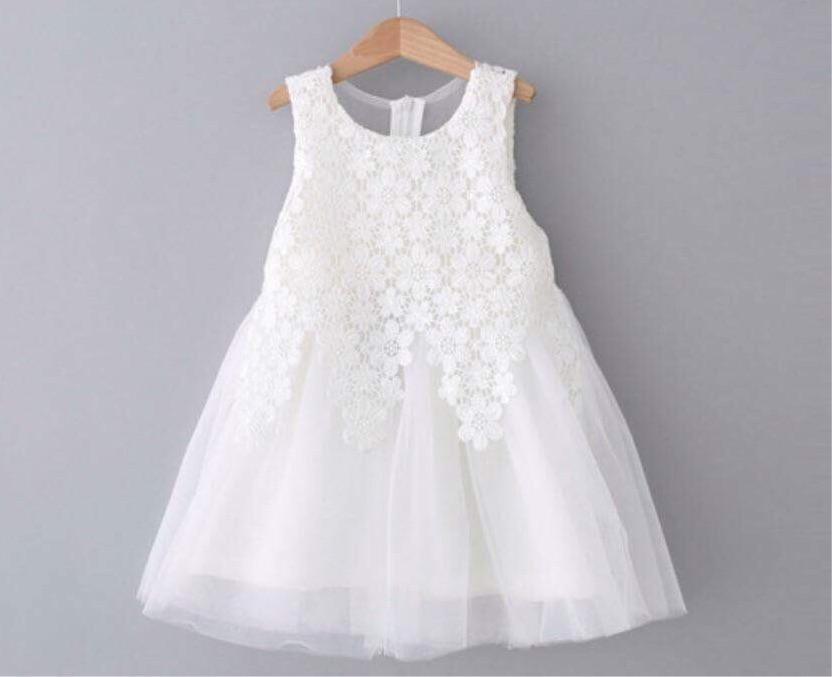 Đầm công chúa ren hoa trắng cho bé gái