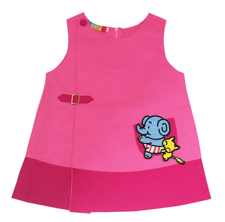 Đầm kaki đính túi hình thú chữ A (Hồng Đậm) DBG007