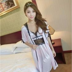 Đầm ngủ kèm áo khoác phối ren (hồng phấn) – DN040HP