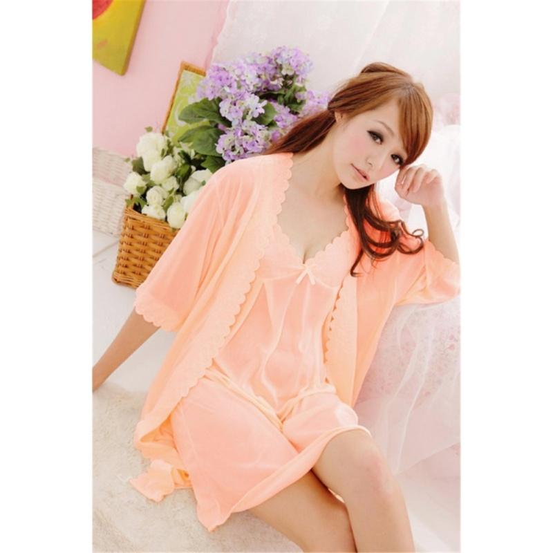 Nơi bán Đầm ngủ kèm áo khoác Trung Niên Thun mát Chodeal24h (cam) - Size 3XL