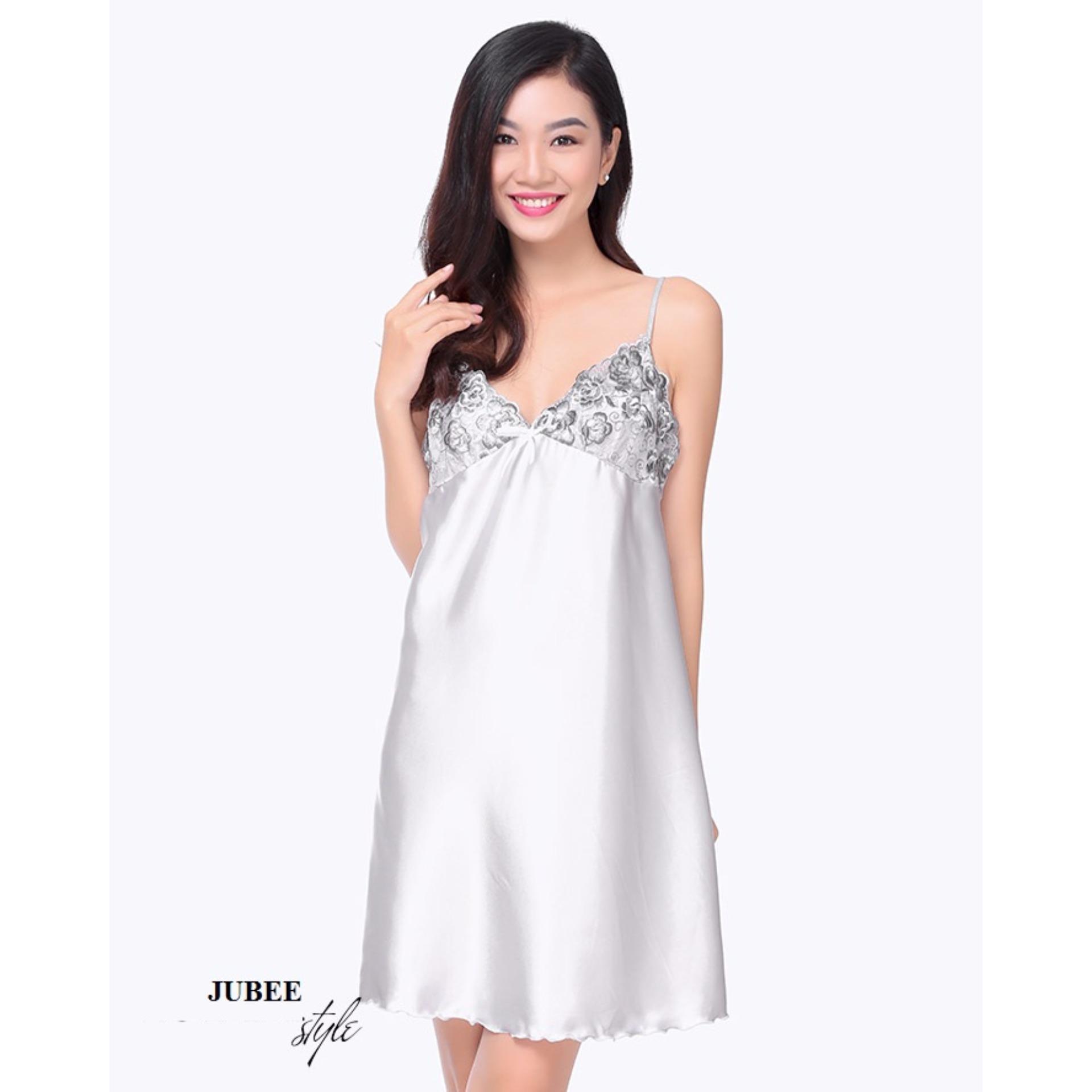 Đầm Ngủ Phi Lụa Phối Ren Quyến Rũ Màu Xám
