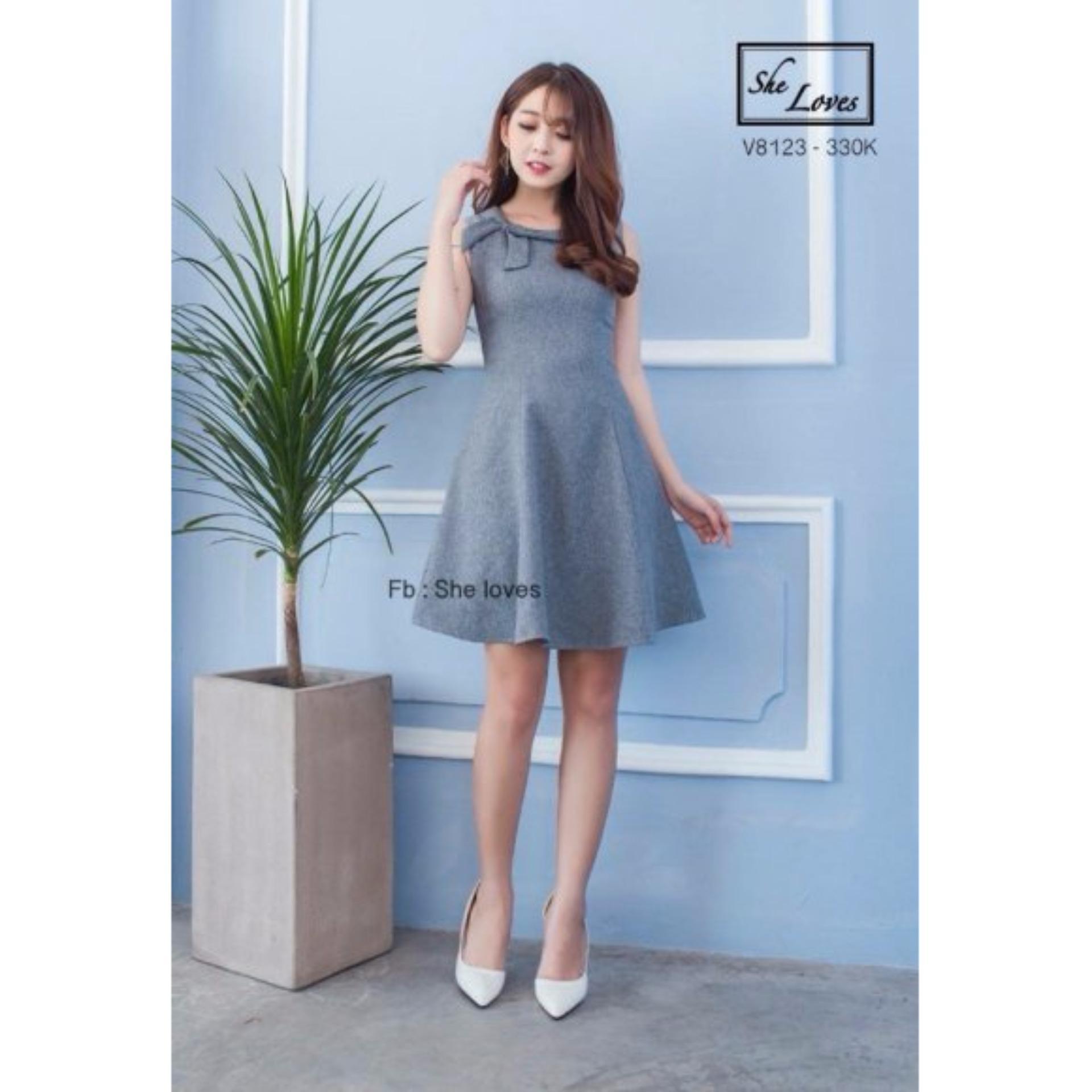 Đầm xòe nơ vai thời trang NV (Xám)