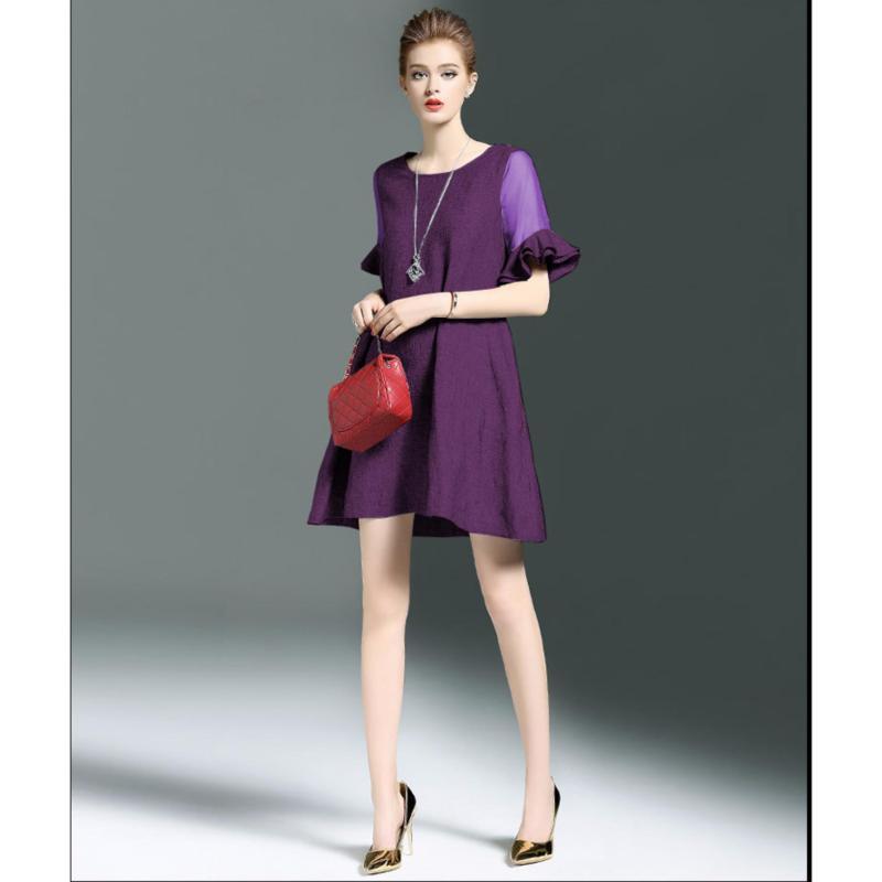 Nơi bán Đầm suông tay loe – MS0253D L Tím Huế