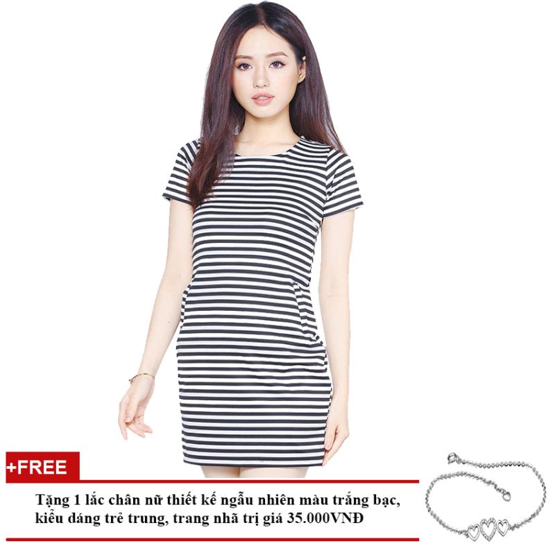 Nơi bán Đầm Thun Dáng Ôm Ngắn Tay Cổ Tròn Soyoung GIFT DRESS 0063C F + Tặng 1 Lắc Chân Nữ