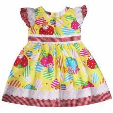 Đầm xòe cotton cho bé gái 2-9 tuổi DBG073 (Vàng)