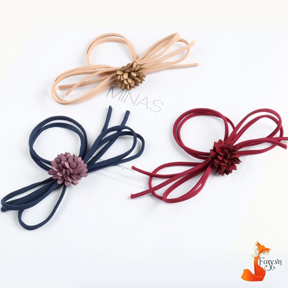 Dây cột tóc Handmade cao cấp phong cách Hàn Quốc Foxy BT0008-Hoa đỏ-Dây xanh