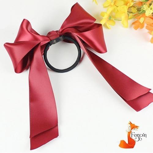 Dây cột tóc Handmade cao cấp phong cách Hàn Quốc Foxy nơ dài BT0004-Đỏ