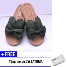 Dép nữ quai ngang hình tai thỏ thời trang cao cấp Latoma TA0452 (Xanh rêu)+ Tặng kèm thẻ ưu đãi Latoma