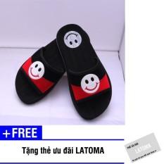 Dép quai ngang nữ mặt cười thời trang cao cấp Latoma TA0591 (Đen phối Đỏ)+Tặng kèm thẻ ưu đãi Latoma