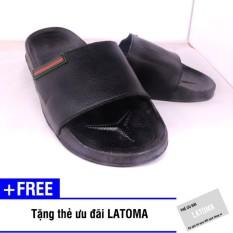 Dép quai ngang thời trang nam Latoma TA011 (Đen)+ Tặng kèm thẻ ưu đãi Latoma