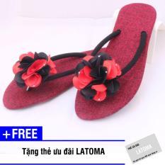Dép xỏ ngón nữ thời trang đính hoa cao cấp Latoma TA0271 (Đen phối đỏ)+ Tặng kèm thẻ ưu đãi Latoma