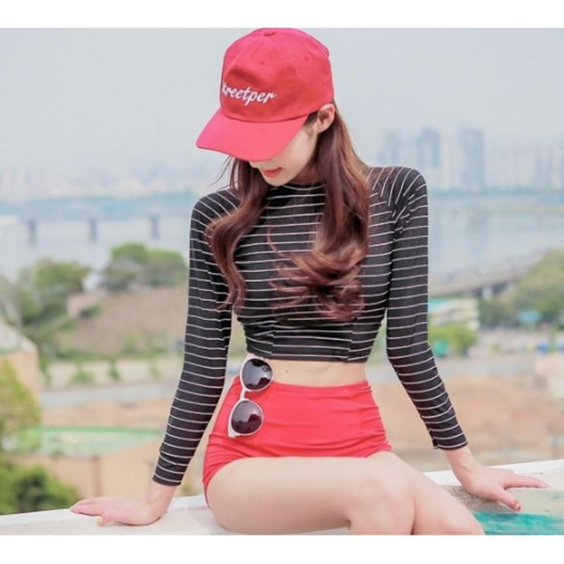 Nơi bán Đồ bơi bikini tay dài màu đen kẻ sọc quần đỏ cạp cao - BG1205