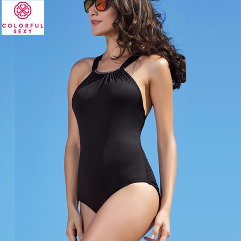 Nơi bán Đồ bơi một mảnh kiểu yếm Colorful Sexy kín đáo - màu đen