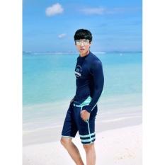Đồ bơi nam tay dài Hàn Quốc Set Xanh Phối Dạ – BN1801