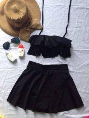 Đồ bơi nữ váy bèo (đen)