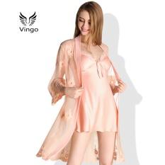 Đầm ngủ váy ngủ lụa kèm áo choàng ren cao cấp Vingo