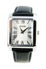 Đồng hồ nam dây da Sinobi 9313 (Đen mặt trắng)