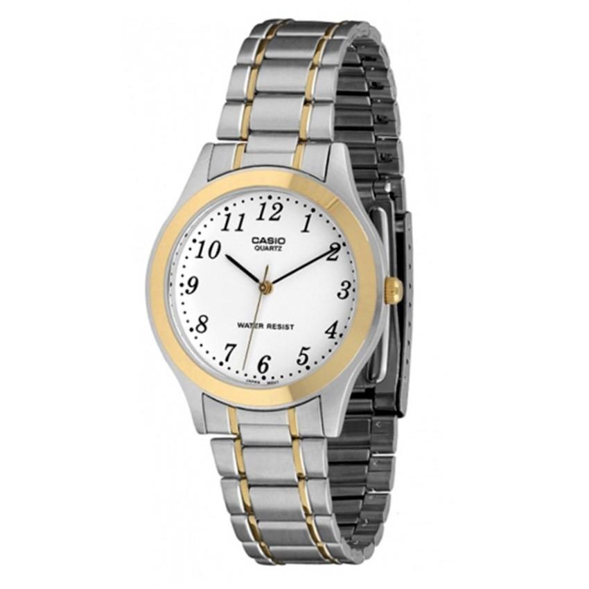 Đồng hồ nam dây thép không gỉ Casio MTP-1128G-7BRDF (Bạc viền vàng)