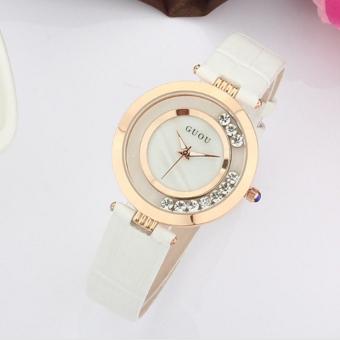 Đồng hồ nữ dây da Guou 1512 (Trắng) - 2