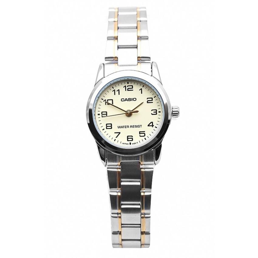 Đồng hồ nữ dây thép không gỉ Casio LTP-V001SG-9BUDF (Bạc viền vàng)