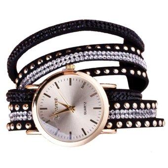Đồng hồ vòng tay tay nữ đính đá họa tiết kẻ sọc SPK723 (Đen)