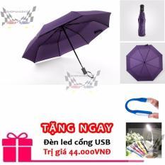 Dù che mưa, nắng đóng mở tự động 2 chiều màu tím tặng đèn led usb