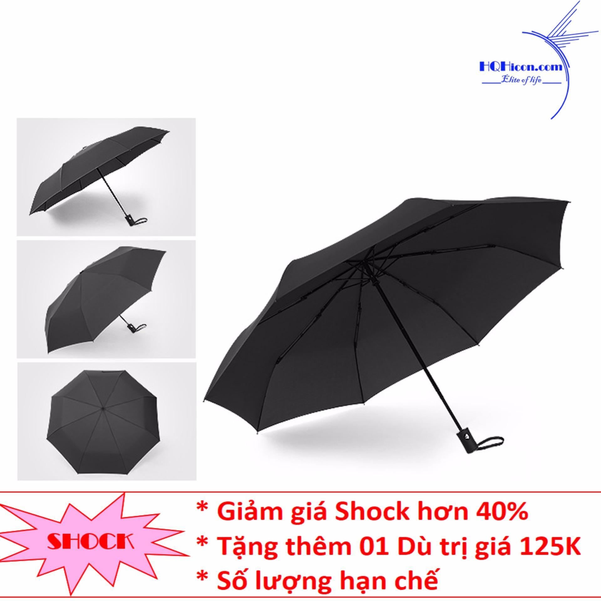 Dù / Ô đi mưa, nắng cao cấp, tiện lợi HQHicon – Ô-002-Đen