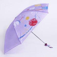 Dù thiên đường gấp 3 chịu nắng mưa hoa văn màu tím đậm 339AD