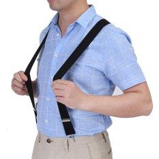 Elastic 3.5cm Width Men X-Shape Adjustable 4 Clips Belts Braces (Black) – intl