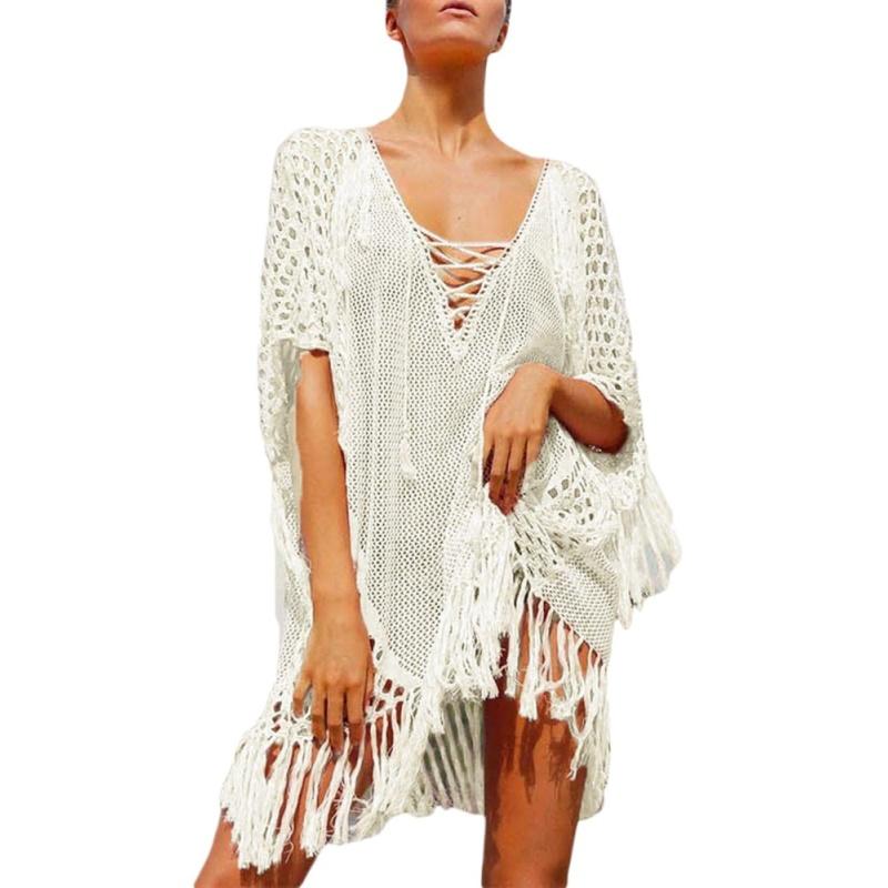 Nơi bán EOZY New 2017 Womens Swimwear Beachwear Blush Plunging V Neck Lace Up Fishnet Fringe Kaftan Tassels Cover Up Beach Blouse Dress Tops (White) - intl