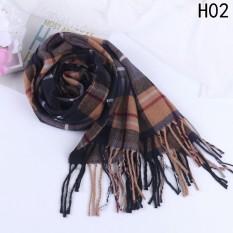 Fancyqube Thu Đông Người Phụ Nữ Len Kẻ Sọc Khăn Choàng Nữ giả Cashmere Khăn H02-quốc tế