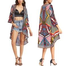 Fang fang Nữ Hoa Vintage Rời Khăn Choàng Áo Khoác Cardigan Kimono Boho Voan Áo Khoác Áo Đi Biển có Bao Áo Chống Nắng- -đỏ-quốc tế