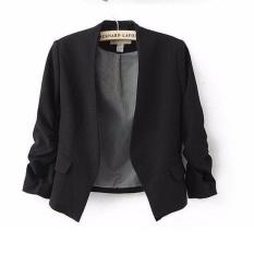 Thời trang Cơ Bản Áo Khoác Blazer Nữ Phù Hợp Với Áo Khoác Cardigan Tay Phồng Nữ Mùa Thu Plus Kích Thước Khoác Thương Hiệu Casual áo (Đen) -quốc tế