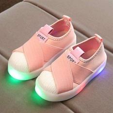 Thời trang Bé Gái Bé Trai Đế Cao Su Vải Thể Thao Trường Giày Đèn LED Giày I131 Màu Hồng-quốc tế