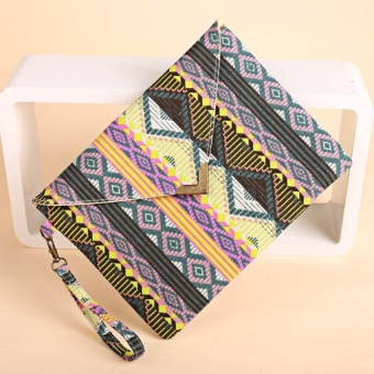 Fashion hot Women Geometric Canvas Handbag Envelop Clutch Bag Type 2 - intl